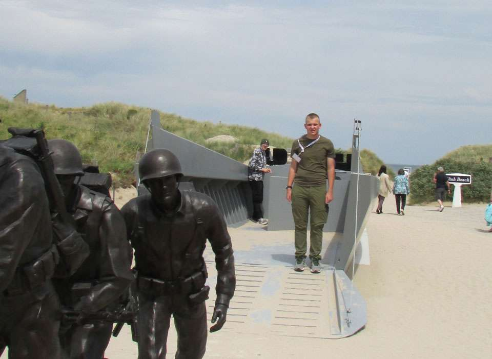 Normandy Academy student at Utah Beach