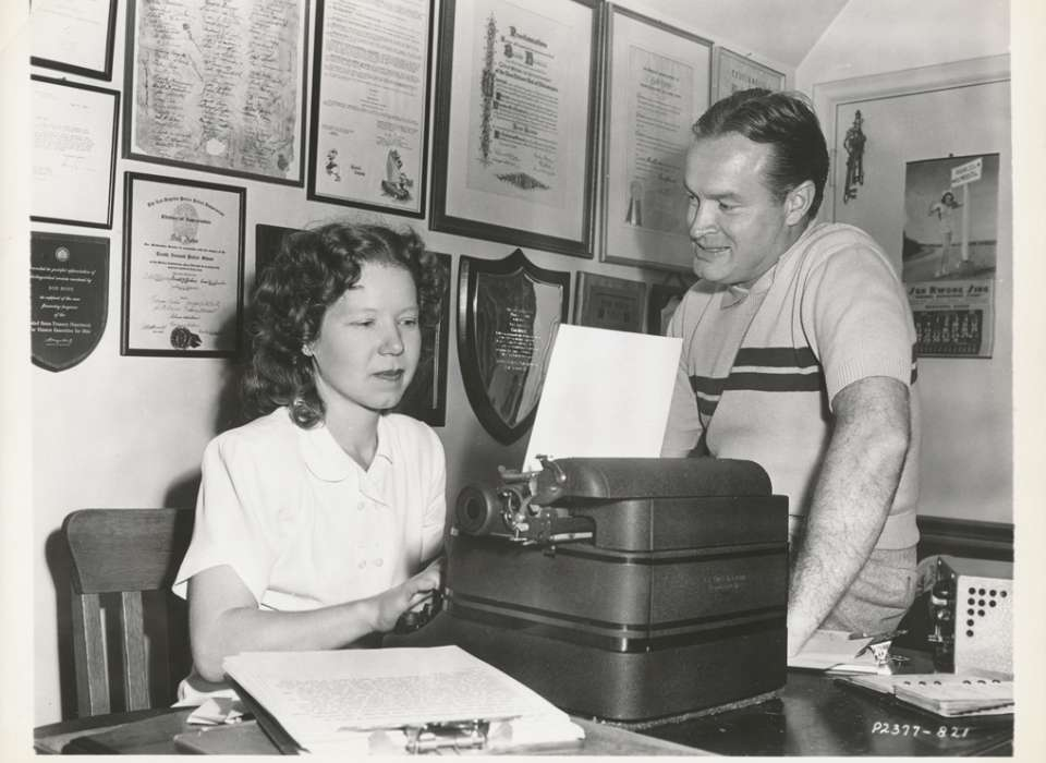 Marjorie Hughes, here with Hope in 1947, managed his office and answered thousands of letters as Hope's chief assistant from 1942-1973.