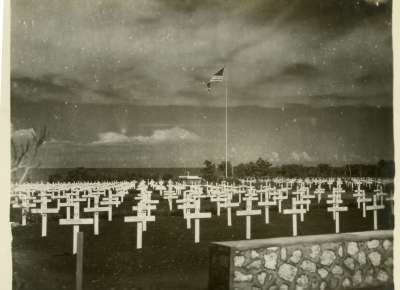 American cemetery on Tinian in late 1945. Courtesy of The National WWII Museum.