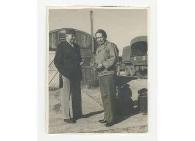 "John and Maude Dach, ""Ma & Pa,"" at a military camp in North Africa, February 1944, The National WWII Museum, 2014.094.081"